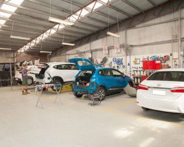 Cars being repaired after an accident - auto repair near me